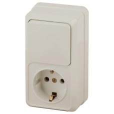 Intro Блок розетка+выкл. верт. 10(16)А-250В, IP20, ОУ, Quadro, сл.кость