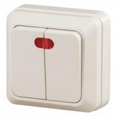 Intro Выключатель двойной с подсветкой, 10АХ-250В, ОУ, Quadro, сл.кость
