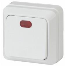 Intro Выключатель с подсветкой, 10АХ-250В, ОУ, Quadro, белый