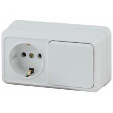 Intro Блок розетка+выкл. гориз. 10(16)А-250В, IP20, ОУ, Quadro, белый