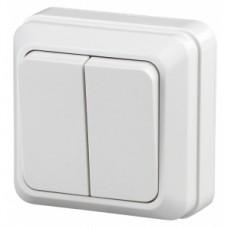 Intro Выключатель двойной, 10АХ-250В, ОУ, Quadro, белый