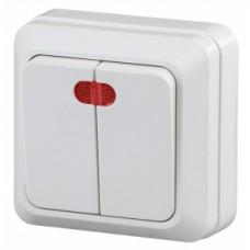 Intro Выключатель двойной с подсветкой, 10АХ-250В, ОУ, Quadro, белый