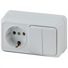 Intro Блок розетка+выкл. двойной гориз. 10(16)А-250В, IP20, ОУ, Quadro, белый