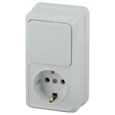 Intro Блок розетка+выкл. верт. 10(16)А-250В, IP20, ОУ, Quadro, белый