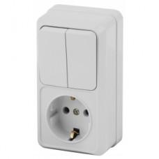 Intro Блок розетка+выкл. двойной верт. 10(16)А-250В, IP20, ОУ, Quadro, белый