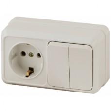 Intro Блок розетка+выкл. двойной гориз. 10(16)А-250В, IP20, ОУ, Quadro, сл.кость
