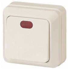 Intro Выключатель с подсветкой, 10АХ-250В, ОУ, Quadro, сл.кость