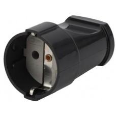 Rx2-B ЭРА Розетка кабельная с/з прямая 16A черная (24/384/4608)