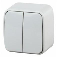 Intro Выключатель двойной, 10А-250В, IP20, ОУ, Polo, белый (18/360/4320)