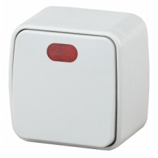 Intro Выключатель с подсветкой, 10А-250В, IP20, ОУ, Polo, белый