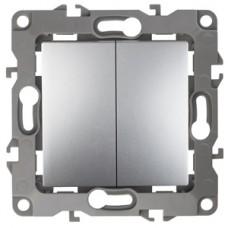 12-1004-03 ЭРА Выключатель двойной, 10АХ-250В, IP20, без м.лапок, Эра12, алюминий