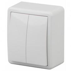 11-1205-01 ЭРА Выключатель двойной с подсветкой, 10АХ-250В, IP20, ОУ, Эра Эксперт, белый