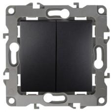 12-1004-05 ЭРА Выключатель двойной, 10АХ-250В, IP20, без м.лапок, Эра12, антрацит