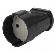 Rx1-B ЭРА Розетка кабельная б/з прямая 10A черная