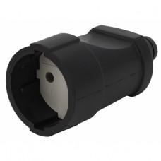 Rx3-B ЭРА Розетка кабельная б/з прямая ПВХ 10A черная