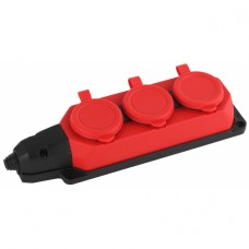 K-3e-RED-IP44 ЭРА Колодка каучуковая с/з 3гн 16A IP44 красная