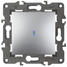 14-1102-03 ЭРА Выключатель с подсветкой, 10АХ-250В, IP20, Эра Elegance, алюминий
