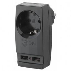 "SP-1e-USB-B ЭРА Адаптер ""Polynom"" 1гн 220V + 2xUSB 2100mA, c заземл, (черный)"