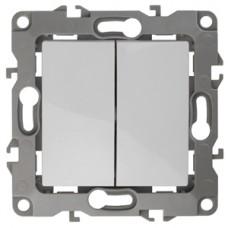 12-1004-01 ЭРА Выключатель двойной, 10АХ-250В, IP20, без м.лапок, Эра12, белый