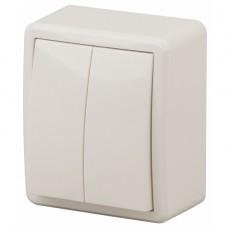 11-1204-02 ЭРА Выключатель двойной, 10АХ-250В, IP20, ОУ, Эра Эксперт, сл.кость