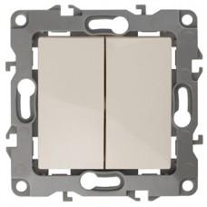 12-1004-02 ЭРА Выключатель двойной, 10АХ-250В, IP20, без м.лапок, Эра12, слоновая кость