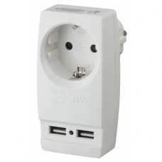 "SP-1e-USB-W ЭРА Адаптер ""Polynom"" 1гн 220V + 2xUSB 2100mA, c заземл, (белый)"